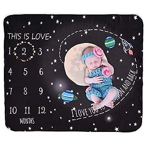 Manta para bebé con diseño de hito mensual, de la marca Greatmtx, unisex, para fotografía, 47.2 x 43.3 pulgadas negro…