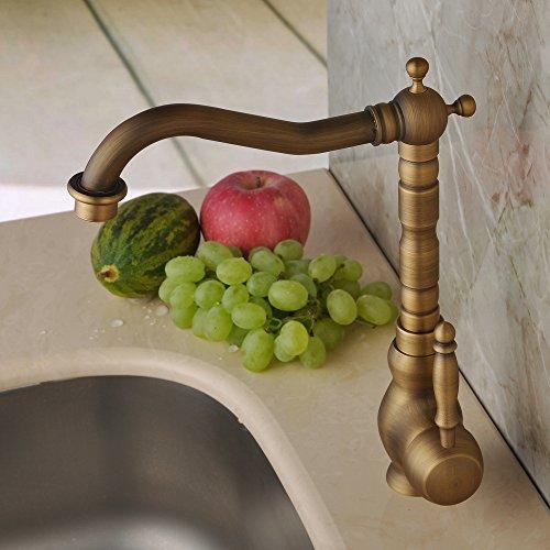Hiendure Antique Brass Unique Designer Plumbing Fixtures Single Hole Long Curve Spout Kitchen Faucet Bathroom Mixer Taps