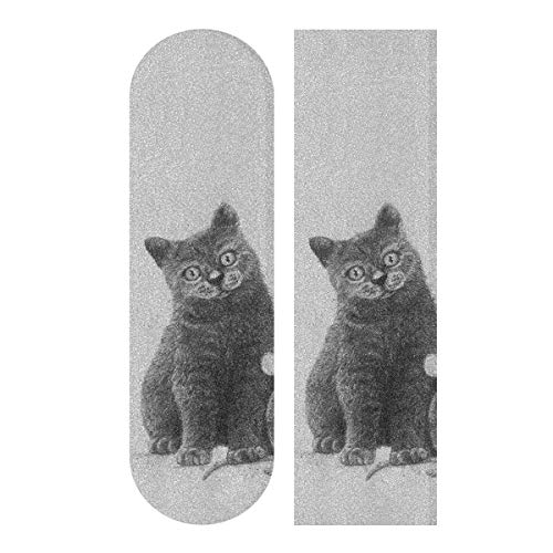 VvxXvx 33.1x9.1inch Sport Outdoor Skateboard Griptape Friends for Life Mouse and Cat Print Waterproof Skateboards Sandpaper for Dancing Board Double Rocker Board Deck 1 Sheet