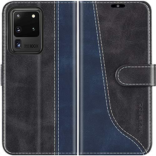 Mulbess Handyhülle für Samsung Galaxy S20 Ultra Hülle Leder, Samsung Galaxy S20 Ultra Handy Hülle, Modisch Flip Handytasche Schutzhülle für Samsung Galaxy S20 Ultra 5G, Schwarz