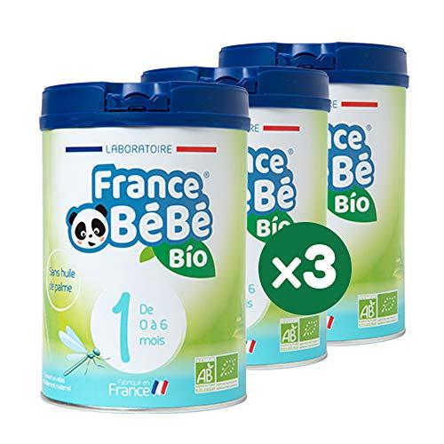 FRANCE BéBé BIO - Lait infantile pour nourrisson bébé 1er âge en poudre - Lait fabriqué en France - 13 Vitamines 12 Minéraux - Pack 3 boîtes de 800g
