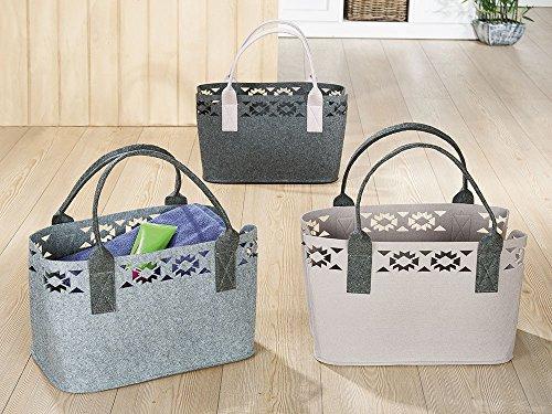 GILDE Filztasche B 41 x H 26 x T 24 cm Shopping Tasche Ethno mit Lasercut-Motiven beige Filz mit Einer Dicke von 3 mm
