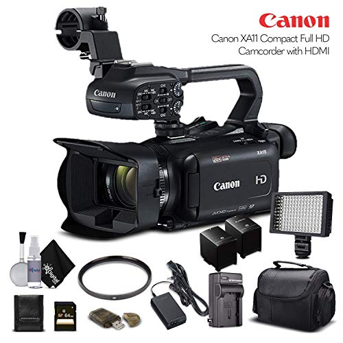 Canon XA11 Compact Full HD Camcorder 2218C002 with 64GB Memory Card, Extra Battery and Charger, UV Filter, LED Light, Case and More. - Starter Bundle (Renewed)