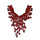 1 pieza de encaje cuello collar flor roja bordado adorno apliques venise coser...