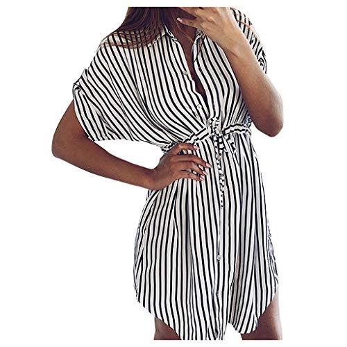 Fashion Womens Drawstring Bandage Short Sleeve Stripe Print Lapel Shirt Dress Black M Plus  Size Dresses for Women