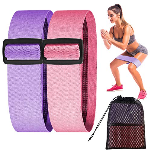 DONWELL - Fasce di resistenza regolabili per fianchi e gambe, 3 livelli di resistenza antiscivolo per allenamento, per donne e uomini, fitness, yoga, squat, viola medio, prugna.