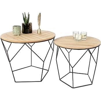 Lifa Living Table Gigogne Bois Et Metal Ronde Table Basse Design
