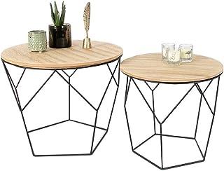 LIFA LIVING Table Gigogne Bois et Metal Ronde, Table Basse Design Bois en Lot de 2, Petite Table Basse Gigogne Scandinave,...
