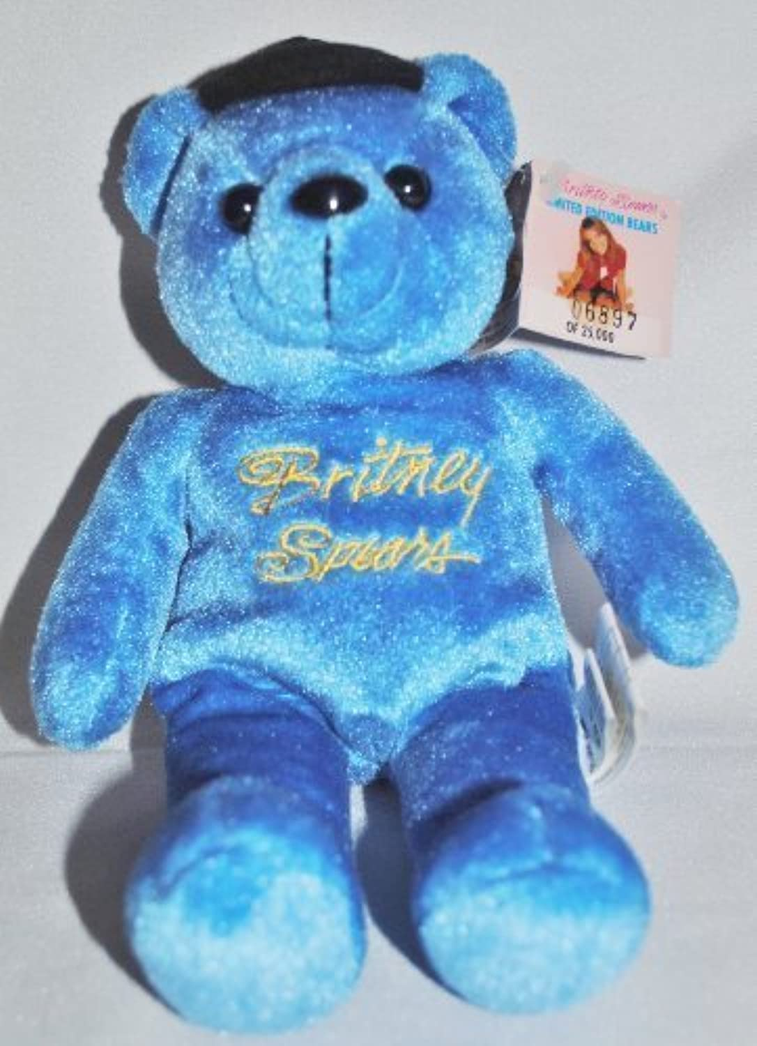 Britney Spears Limited Edition Bean Bear In Clear Plastic Keeper (2.5x2.5x7.25 inches) by Rare Bears