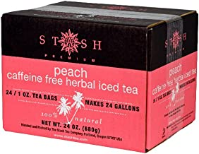 Stash Tea Peach Herbal Tea 1 Ounce Iced Tea Brew Bags (Pack of 24) Herbal Tea Bags for Brewing Iced Tea, One Bag Makes 3 Quarts of Iced Tea, Drink Sweetened or Plain