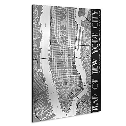 Vertikale Décoration Murale Tableau Plan de la Ville de New-York Noir et Blanc Alu Dibond Brossé