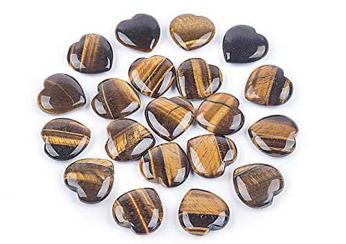 20 pcs Natural Tiger's Eye Stone 30mm Heart Pocket Stone,Healing Crystal Chakra Reiki Balancing