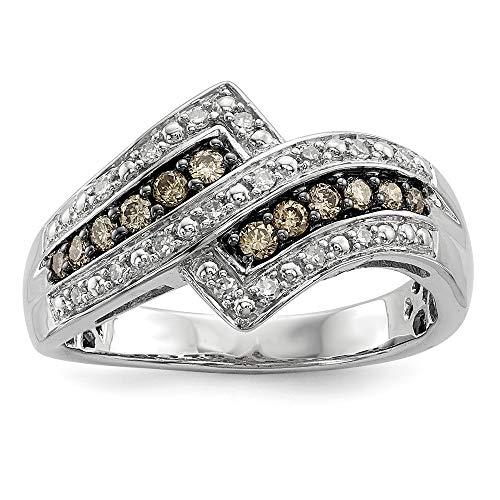 JewelryWeb Mujer Plata fina 925 plata de ley redonda HI Diamante amarillo (champagne)