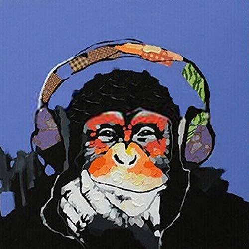 5D Diamant Olie Schilderen door Digitale Schilderij Kit Volledige Diamant DIY Art Ambachten Geschikt voor Home Muurdecoratie Koptelefoon Orangutan 45x45cm