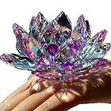 TYGJB Cristal de Cuarzo Fino Cristal de Lotus Flor de Loto Piedras Naturales y minerales Feng Shui Esfera Cristales Flores para Recuerdos de Boda (Morado)