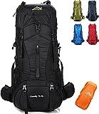 onyorhan 70L+5L Zaino Viaggio Trekking Escursionismo Campeggio Arrampicata Alpinismo Impermeabile per UomoDonna (Nero)