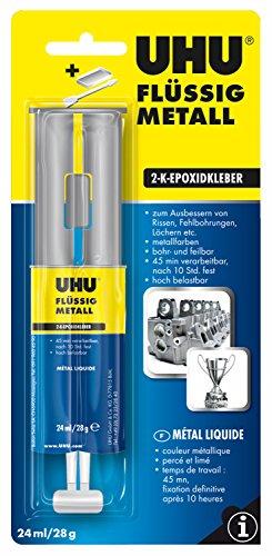 UHU 2-Komponentenkleber Flüssig Metall, Metallfarbener 2K-Klebstoff in einer praktischen Doppelkammerspritze, 28 gK-Klebstoff