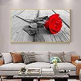KWzEQ Pintura sin Marco Lienzo Rosa roja Arte Moderno Hermosas Flores póster Sala de Estar Familiar decoración del dormitorioAY6989 50X100cm