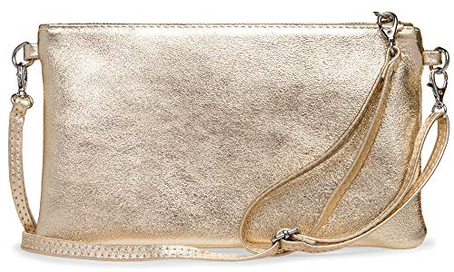 CASPAR Fashion TL717 Clutch in vera pelle con finitura metallizzata per Donna Taglia unica Champagne