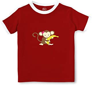 Monkey Banana Girl Crewneck Boys-Girls Toddler Cotton Soccer T-Shirt