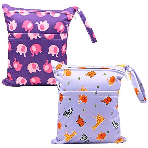 Snyemio Bambino Sacchetto Del Pannolino Stoffa Neonato Dry Wet Cerniera Daycare Bag Riutilizzabile 2PCs