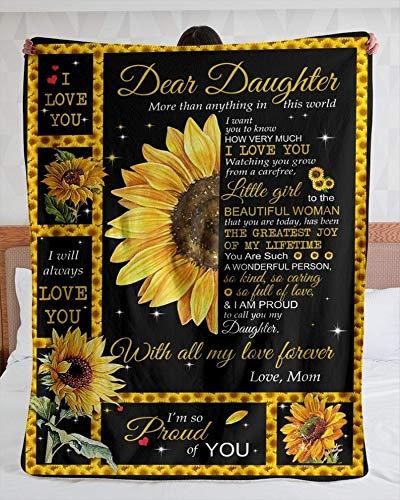 Sunflower Blanket to Daughter Love Forever from Mom Sherpa Fleece Blanket , Velveteen Plush Blanket 30X40, 50X60,60X80