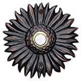 Waterwood Solid Brass Sunflower Doorbell in Oil Rubbed Bronze - Wired & Illuminated Push Button from Environmentally Friendly Recycled Material