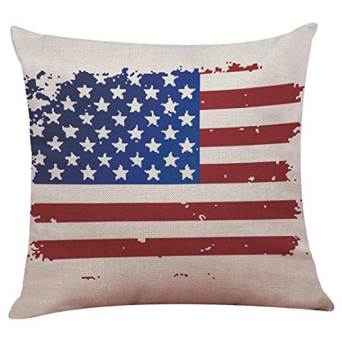 Goodtrade8 July 4th Patriotic Vintage American Flag Pillow Case Cotton Linen Cushion Cover Couch Throw Pillow Case Sofa Home Decor Patio Pillow Cover, Hidden Zipper Closure (Multicolor C)