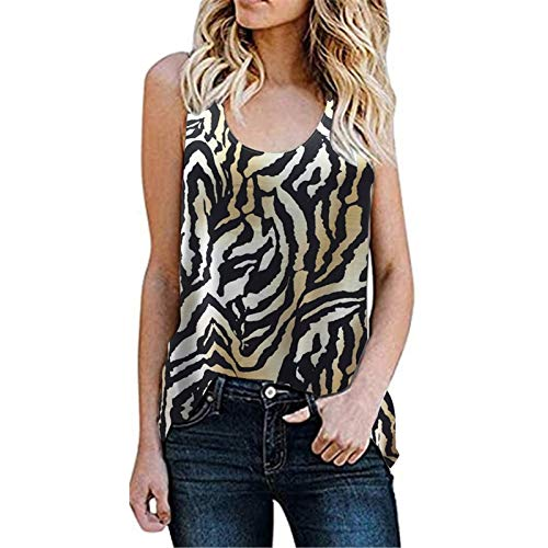 T-Shirt Damen Sommer Tank Top Leopard Scoop Shirt Ärmellos Hemd Lässige Lose Tunika Bluse Oberteil Kleidung Weste