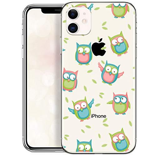 QULT Schutzhülle kompatibel mit iPhone 11 Hülle Silikon Hülle Transparent dünn Handyhülle mit Motiv Vögel Eule