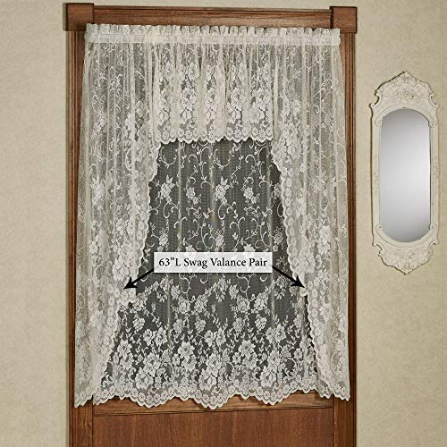 D Kwitman & Sons-Exclusive Win Enchanting Roses Lace Long Swag Valance Pair Swag Valance 56 x 63