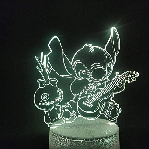 3D Illusion Lamp Led Night Light Famous Cartoon Dog Stitch Plays Guitar Color Change with Remote Controller for Living Room Decoration