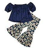 2PCS Baby Girl Off Shoulder Tube Top Shirt+Ruffle Floral Pants Casual Clothing