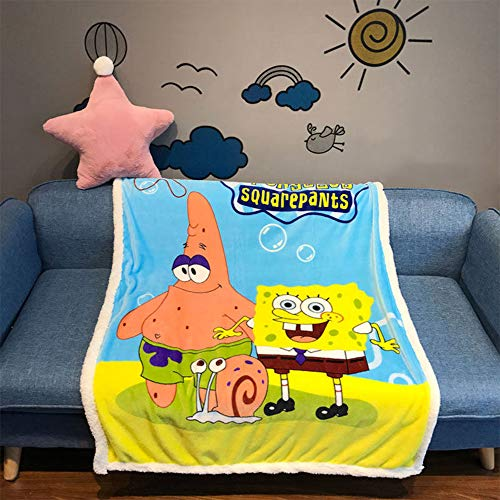 Cartoon Hello Kitty Spongebob Throw Blanket Cozy Plush Fleece Blanket Coral Velvet Fuzzy Blanket for Adults Boys Girls Kids Bed Couch Chair Baby Crib Living Room 40'X55' (Spongebob)