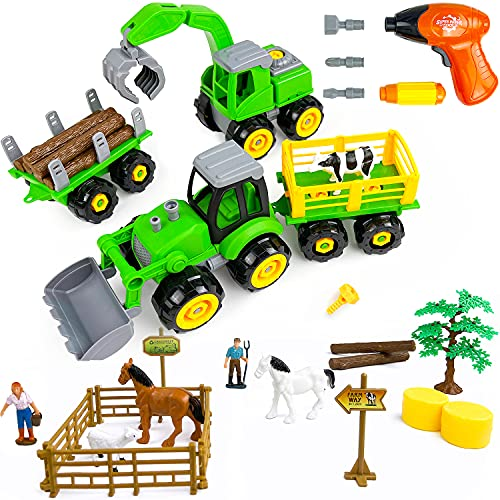 MICHEF Take Apart Toys Play Farm Truck Tractor and Excavator Toy Set with Electric Drill  Farm Animals and Farm Accessories Included  STEM Learning Toys for Boys Girls Kids Toddlers Building Toy