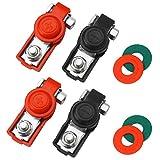 JatilEr - Terminales de batería para coche, 4 unidades, conectores de batería de cobre, conectores de terminales de batería de placa de cobre, abrazadera de batería negativa y positiva