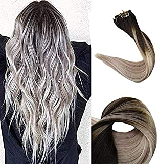 Full Shine 20 Inch 120 Gram Remy Human Hair Brazilian Clip In Hair Extensions Color 2 Fading To 18 Ash Blonde and Color 60 Platinum Blonde Balayage Clip Hair Extensions Double Wefted Hair Clip Ins