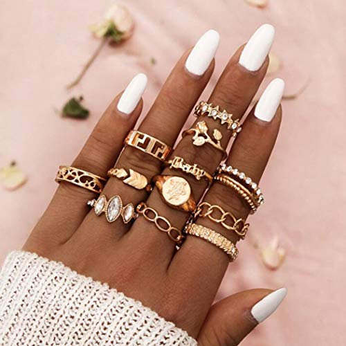 Aukmla Boho Knuckle Rings Set Gold Crystal Stackable Finger Rings Midi Size Joint Knuckle Ring Sets for Women and Girls 12PCS