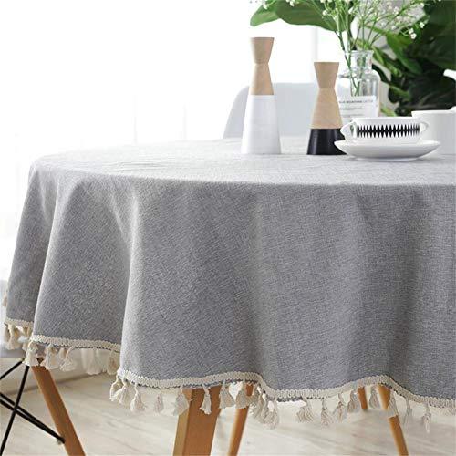Homcomodar Gris Redondo Manteles en algodón y Lino para Mesa de Comedor 150 cm de diámetro Lavable Mantel