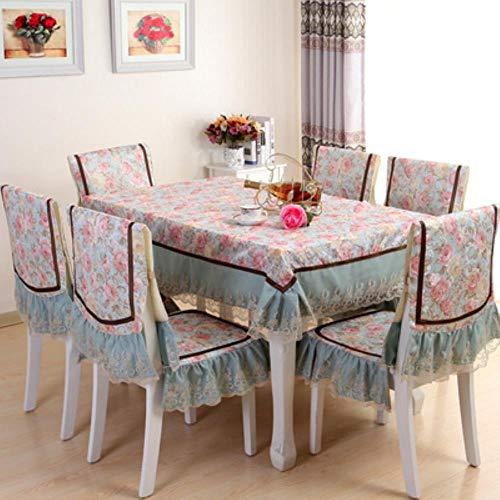 K-ONE Mantel de algodón de gama alta, estilo europeo, estilo retro, 2 estilos, encaje floral, mantel de algodón, para comedor, 1, One chair sets
