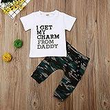 Styledress kinderkleidung Junge Buchstabenmuster weiß T-Shirt +Tarnhose Bekleidungsset Set Sommer Baumwolle Kurzarm