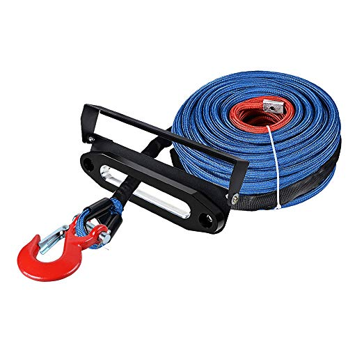 Best Bargain Astra Depot 95ft x 3/8 Blue UHMWPE Winch Rope 22,000lbs w/All Rock Guard + Red Clevis ...