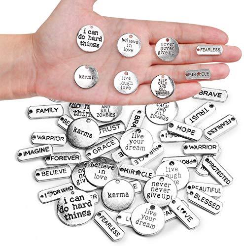 Makhry Gemengd 48 Inspirerende Woorden Charms Hanger Kralen voor Ketting Armbanden Benodigdheden voor Het Maken van Sieraden DIY-Ambacht (Antiek Zilver)