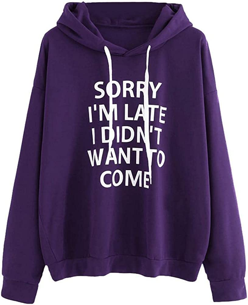 Toeava Hoodies for Women, Ladies Casual Letter Print Loose Fit Drawstring Hooded Blouse Long Sleeve Pullover Sweatshirts