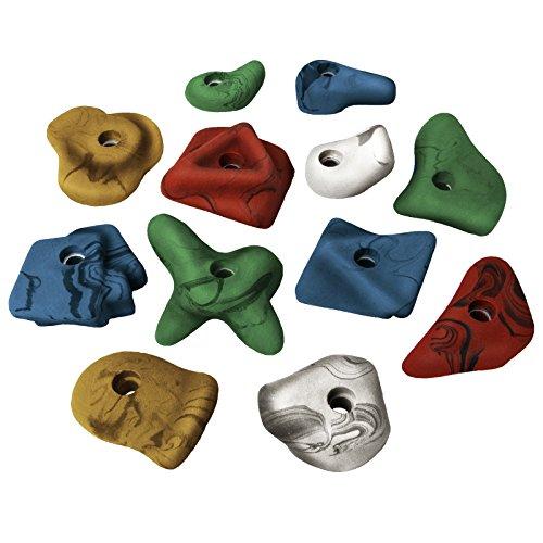 ALPIDEX 12 Kinder Henkel Klettergriffe Größe M bis L - ergonomisch geformt, gut zu greifen Dank Hinterschneidungen, Farbe:bunt