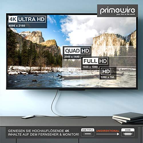 CSL-Computer 1m 4K USB Typ C zu HDMI 2.0 Kabel - HDTV Kabel UHD 3840x2160 4K@60Hz - 3D-fähig - Thunderbolt 3 Kompatibel mit MacBook Pro 2020 2019 MacBook Air iPad Pro Surface Book 2 Galaxy S10 - Grau