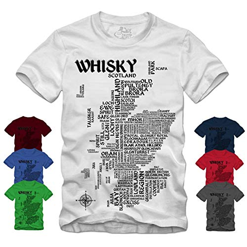 Whisky Map - Schwarz T-Shirt Scotch Islay Whiskey Single Malt Landkarte (L, Grau)