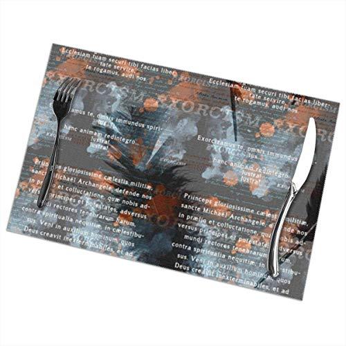 Ha99y Tovagliette esorcismo per Tavolo da Pranzo Set di 6 Pezzi in Poliestere Lavabile 12x18 in tovagliette tessute in Vinile Resistenti al Calore per Decorazioni per tavoli da Cucina