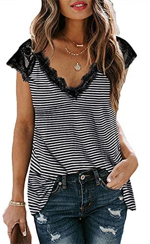 Joligiao Verano Camiseta para Mujer De Manga Corta Casual Superior Larga Suelta Color Sólido Camisa Sexy Encaje Cuello En V Blusa De Moda,Raya,XL