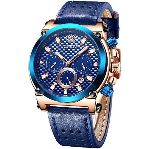 OLEVS Men Business Analog Quartz Watch,Blue Leather Classic Big Watche,Luxury Brand Chronograph Waterproof Wrist Watch,Fashion Casual Blue Watches,Luminous Calendar Classic Rose Gold Watch for Men